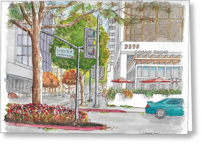 Wilshire Blvd. And Camden Dr. In Beverly Hills, California Greeting Card