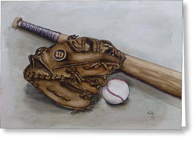 Wilson Baseball Glove And Bat Greeting Card