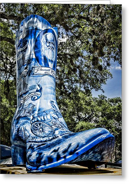 Wimberley Blue Boot Greeting Card by Stephen Stookey