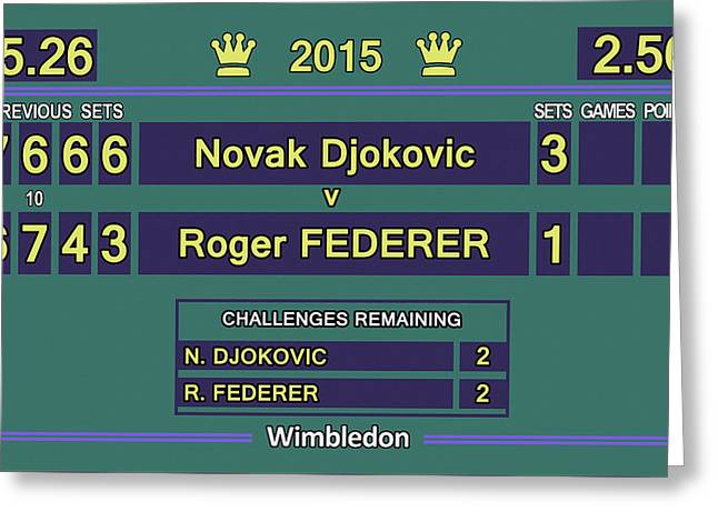 Wimbledon 2015 Final Djokovic V Federer Greeting Card by Carlos Vieira