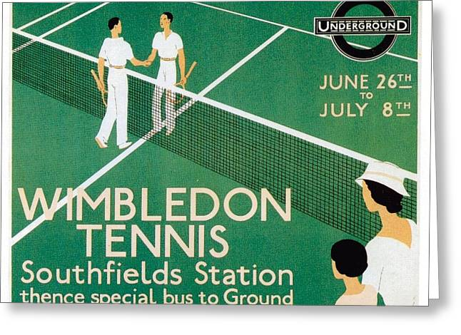 Wimbledon Tennis Southfield Station - London Underground - Retro Travel Poster - Vintage Poster Greeting Card