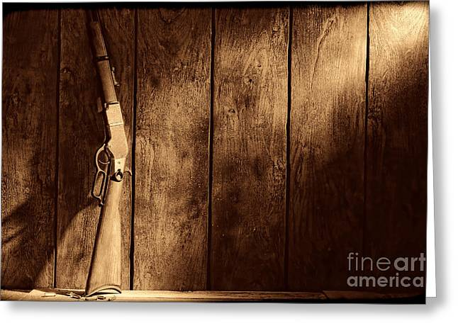 Winchester Greeting Card by American West Legend By Olivier Le Queinec