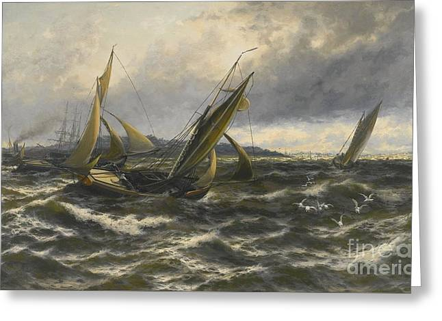 Wind And Sea Rising Off The Isle Of Sheppey Greeting Card by MotionAge Designs