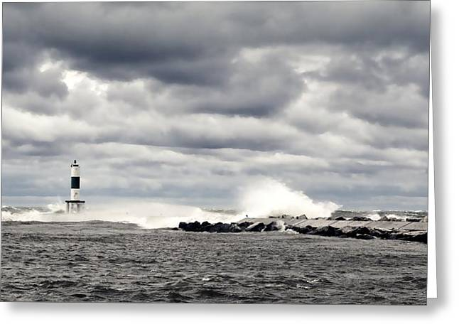 Wind And Waves At Holland Harbor Greeting Card by Michelle Calkins