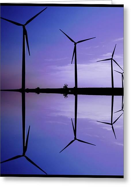 Wind Energy Turbines At Dusk Greeting Card