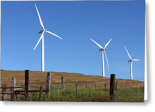 Generators Greeting Cards - Wind energy wind turbines in a field Washington state. Greeting Card by Gino Rigucci