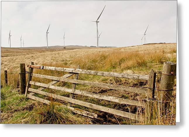 Wind Farm On Miller's Moss. Greeting Card