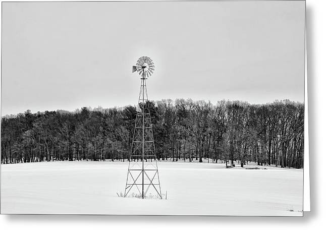 Wind Mill In Winter  Greeting Card by Bill Cannon