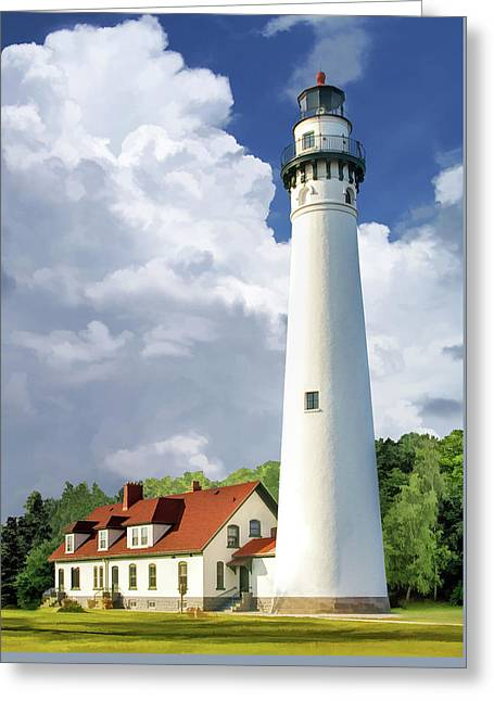 Greeting Card featuring the painting Wind Point Lighthouse by Christopher Arndt