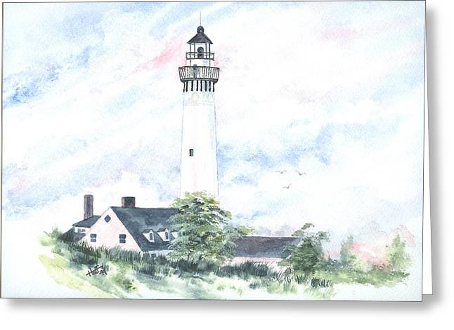 Wind Point Lighthouse Greeting Card by Denise   Hoff