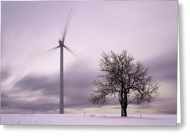 Wind Power Station, Ore Mountains, Czech Republic Greeting Card