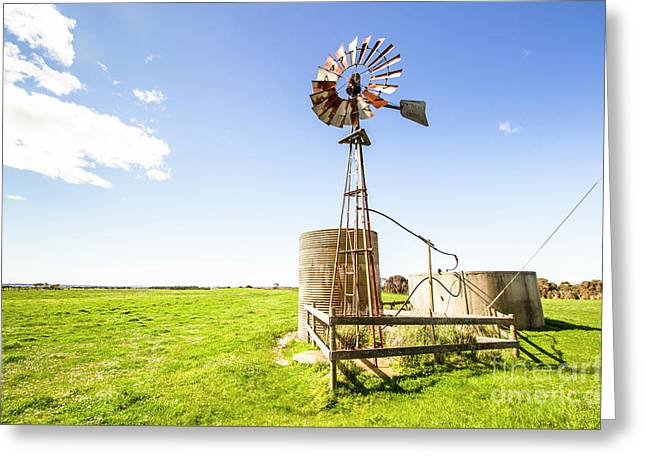 Wind Powered Farming Station Greeting Card