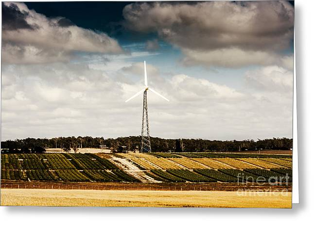 Wind Powered Turbine On Australian Farm Landscape Greeting Card