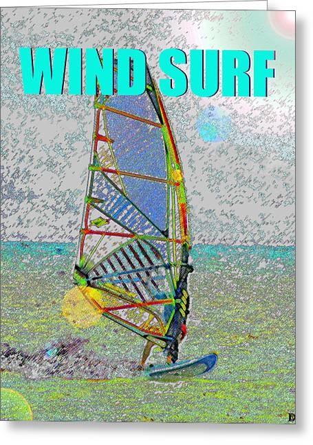 Wind Surf Smart Phone Blue Text Greeting Card by David Lee Thompson