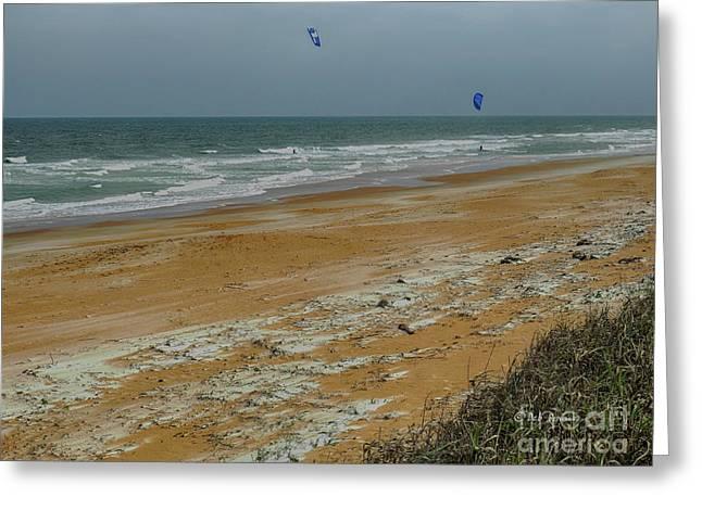 Wind Surfing In Flagler Greeting Card by Deborah Benoit
