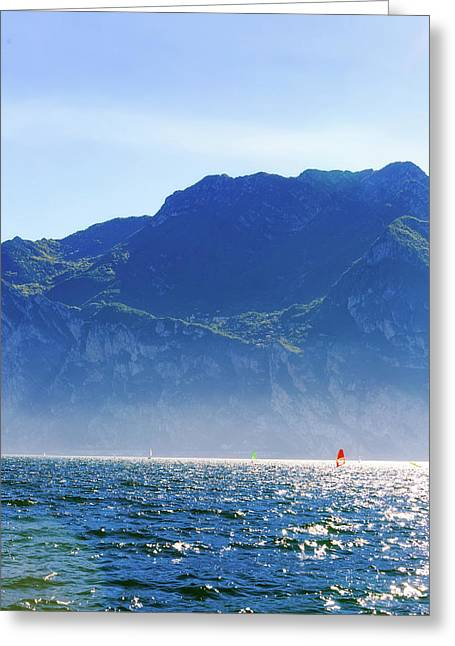 Wind Surfing In Riva Del Garda Greeting Card