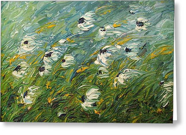 Pallet Knife Greeting Cards - Wind Swept Daisies Greeting Card by Robert Laper
