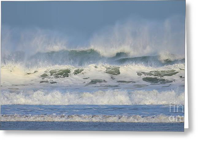 Greeting Card featuring the photograph Wind Swept Waves by Nicholas Burningham