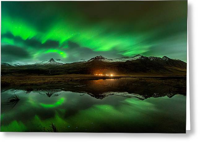 Wind To Northern Ligths Greeting Card by David Martin Castan