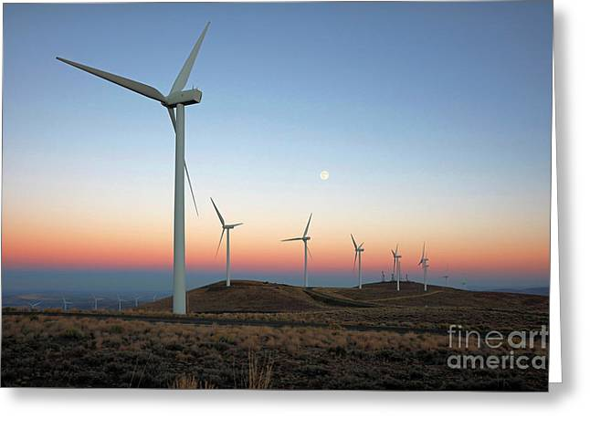 Wind Turbines At Moonrise Greeting Card