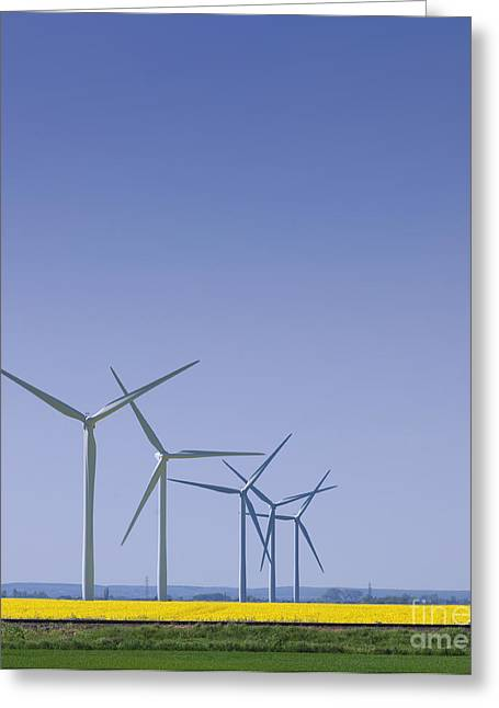 Wind Turbines In Field Greeting Card by Dave & Les Jacobs