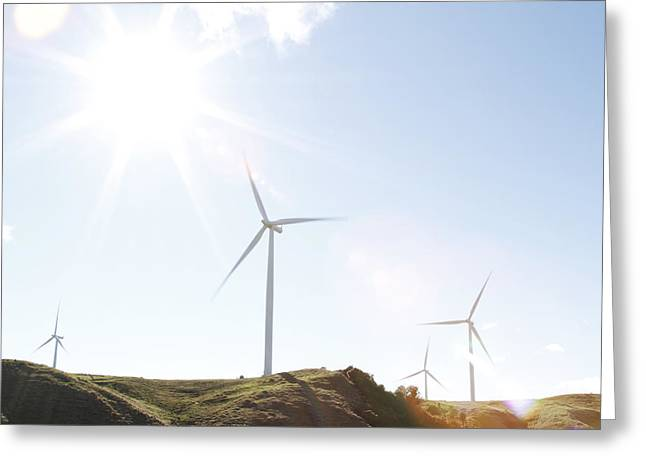 Wind Turbines  Greeting Card by Les Cunliffe