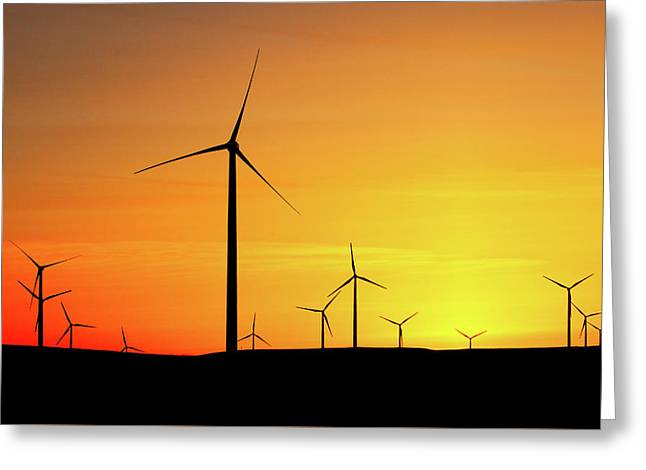 Wind Turbines Silhouette Greeting Card