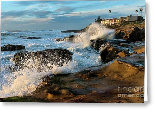 Greeting Card featuring the photograph Windansea Beach At High Tide by Eddie Yerkish