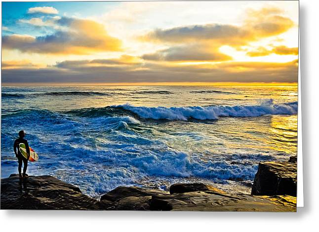 Windansea Sunset Surfer Greeting Card by Kelly Wade