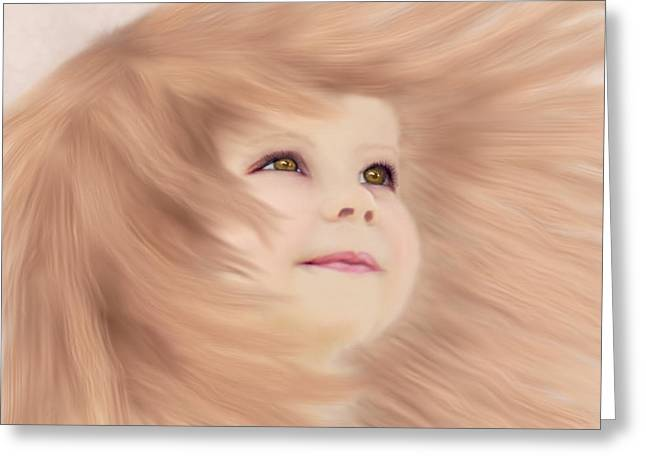 Windblown Child's Play Greeting Card