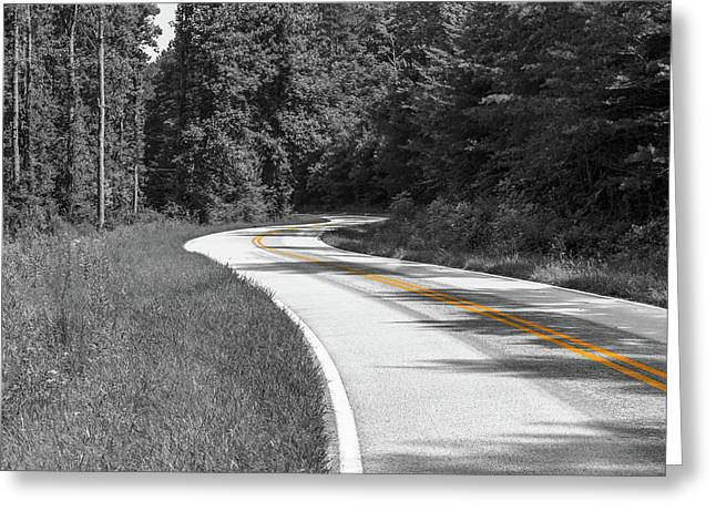 Winding Country Road In Selective Color Greeting Card