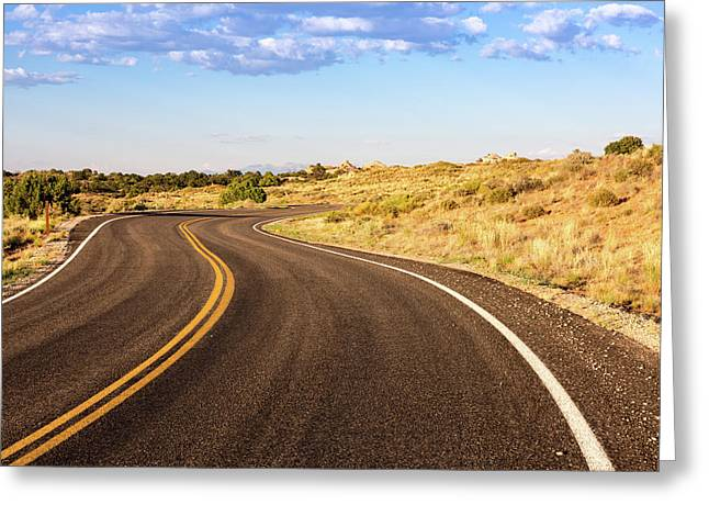 Winding Desert Road At Sunset Greeting Card