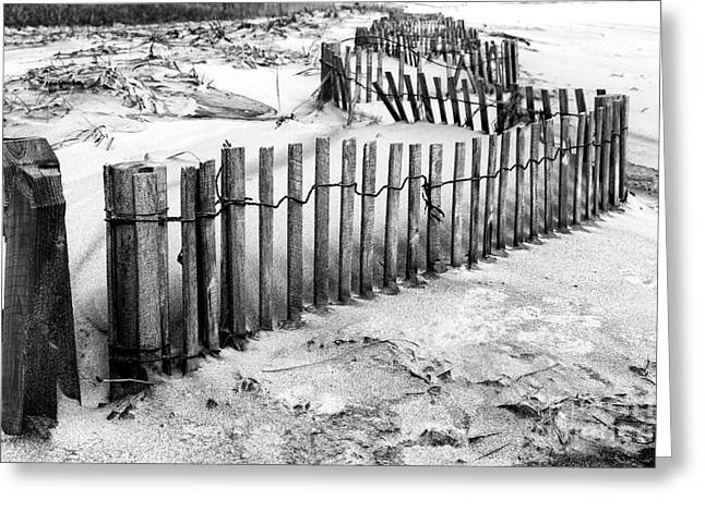 Winding Dune Fence Greeting Card by John Rizzuto