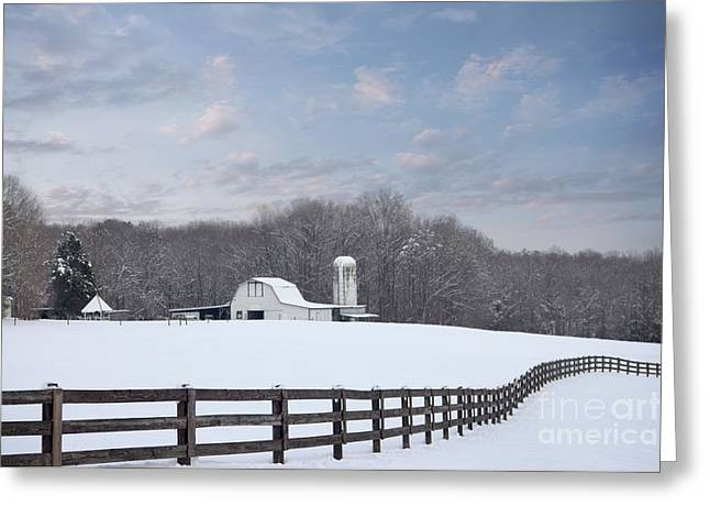Winding Fence Farm Greeting Card by Benanne Stiens