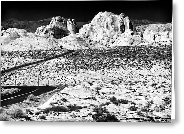 Winding In The Desert Greeting Card by John Rizzuto
