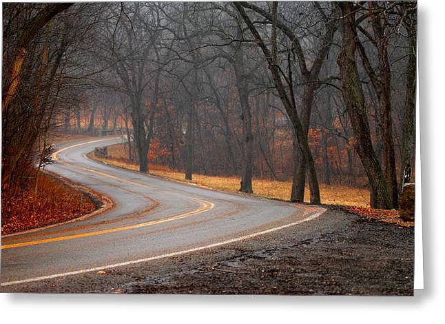 Winding Misty Road Greeting Card