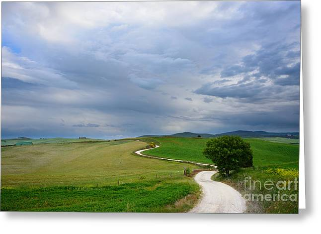 Winding Road To A Destination In A Tuscany Landscape Greeting Card by IPics Photography