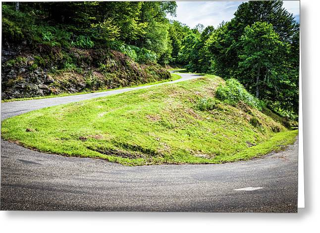 Winding Road With Sharp Bend Going Up The Mountain Greeting Card by Semmick Photo