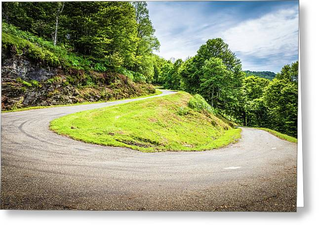 Winding Road With Sharp Curve Going Up The Mountain Greeting Card by Semmick Photo