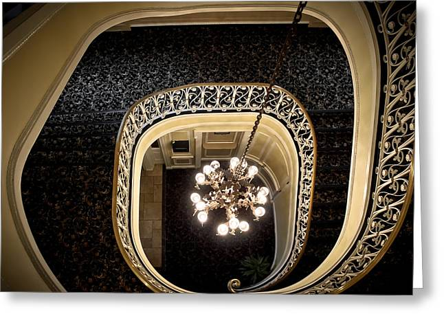 Winding Staircase - The Biddle Mansion Greeting Card by Colleen Kammerer