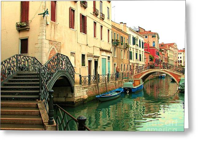 Winding Through The Watery Streets Of Venice Greeting Card by Barbie Corbett-Newmin