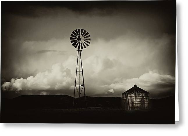 Windmill And Tank Greeting Card by Gus McCrea