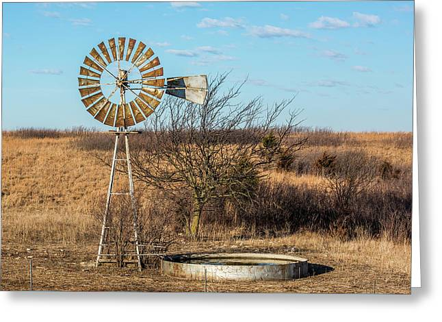 Windmill And Water Tank Greeting Card by Paul Freidlund