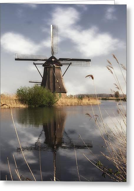 Windmill At Kinderdijk In Holland Greeting Card