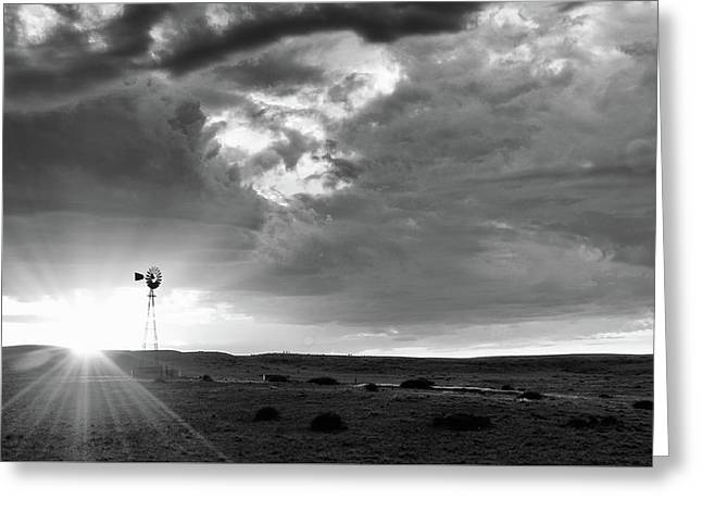 Greeting Card featuring the photograph Windmill At Sunset by Monte Stevens
