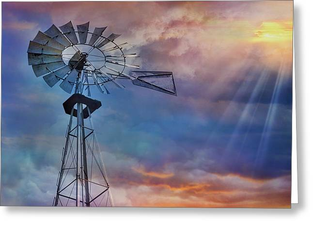Greeting Card featuring the photograph Windmill At Sunset by Susan Candelario