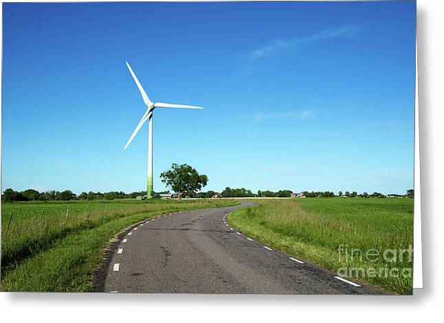 Greeting Card featuring the photograph Windmill By A Country Road Side by Kennerth and Birgitta Kullman