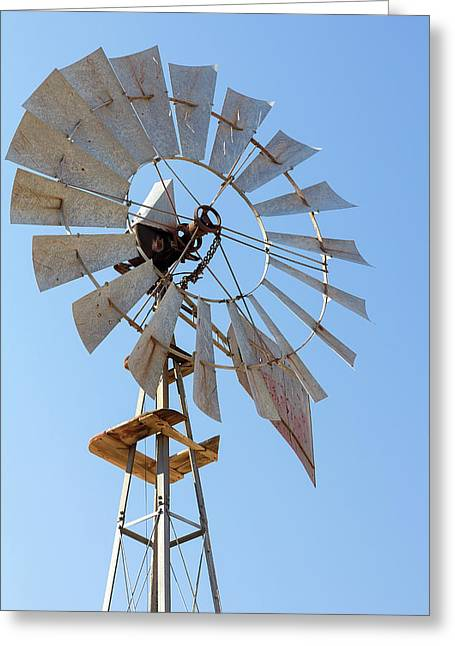 Windmill For Water Well Pump Closeup Greeting Card by Jit Lim