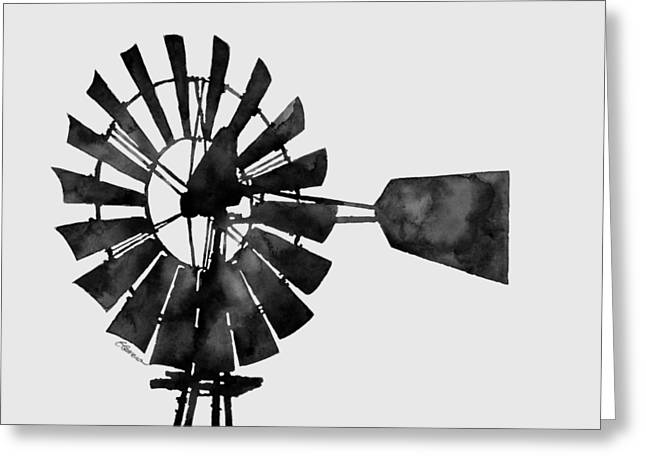 Windmill In Black And White Greeting Card by Hailey E Herrera