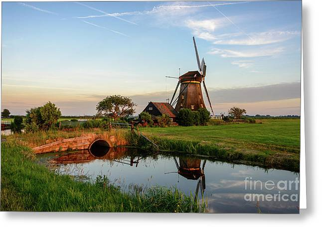 Windmill In The Countryside In Holland Greeting Card by IPics Photography